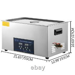 10L Digital Ultrasonic Cleaner with Heater 28/40KHz 0-80 Large Stainless Steel