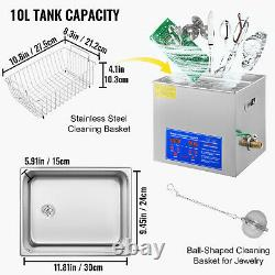 10L Digital Ultrasonic Cleaners with Adjustable Timer Heater 304 Stainless Steel