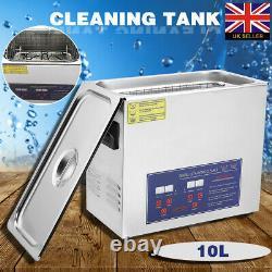 10L Metal Digital Ultrasonic Cleaning Tank Ultra Sonic Bath Cleaner Timer Heated