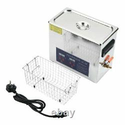 10L Stainless Digital Ultrasonic Cleaning Tank Sonic Bath Cleaner Timer Heated