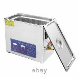 10L Stainless Digital Ultrasonic Sonic Bath Cleaner Timer Heated Cleaning Tank