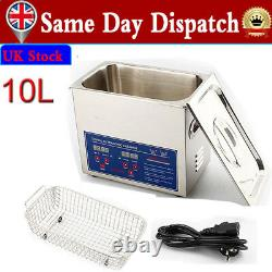 10L Stainless Ultrasonic Cleaner Ultra Sonic Bath Cleaning Tank Timer Heat