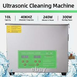10L Stainless Ultrasonic Cleaner Ultra Sonic Bath Cleaning Tank Timer Heater UK