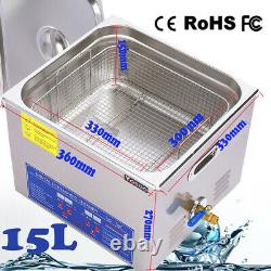 15L Digital Ultrasonic Cleaner Stainless Steel Bath Heater Timer With Basket
