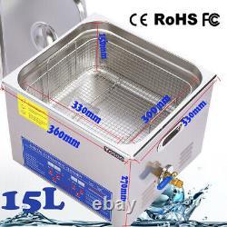 15L Digital Ultrasonic Cleaner Stainless Ultrasound Timer Heater Tank CD Washer