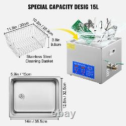 15L Digital Ultrasonic Cleaner Timer Heater Stainless Steel Cleaning Machine