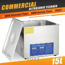 15L Professional Digital Ultrasonic Cleaner Timer 304 Stainless Steel Basket