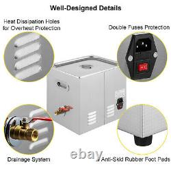 15L Ultrasonic Cleaner Knob Control with Heater Timer Stainless Cleaning Machine