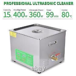 15L Ultrasonic Cleaner Stainless Steel Digital Bath Heater Digital Cleaning Tank
