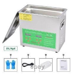 15L Ultrasonic Cleaner Stainless Steel Digital Bath Heater Ultra Sonic CE UK