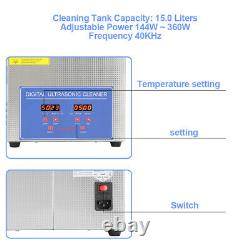 15l Stainless Steel Ultrasonic Cleaner Ultra Sonic Bath Cleaning Tank Timer Set