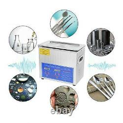 220V 3L Digital Ultra Sonic Cleaner Bath Timer Stainless Tank Cleaning UK Plug