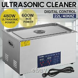 22L Stainless Ultrasonic Cleaner Ultra Sonic Bath Cleaning Timer Tank Heat