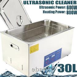 30L Digital Heated Stainless Ultrasonic Parts Cleaner Heater Timer & Basket CE