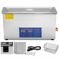 30L Digital Heated Stainless Ultrasonic Parts Cleaner Timer & Basket