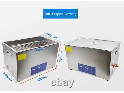 30L LED Digital Stainless Steel Ultrasonic Denture Cleaner for Jewellery Rings
