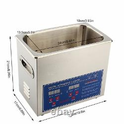 3L DIGITAL STAINLESS ULTRASONIC CLEANER ULTRA SONIC BATH TIMER HEATE With BASKET