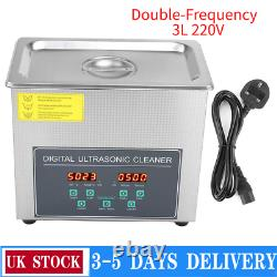 3L Digital Double-Frequency Stainless Steel Ultrasonic Cleaner Timer Heater