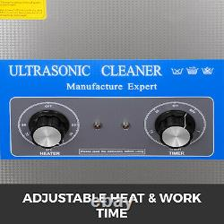 6.5L Ultrasonic Cleaner with Heater Timer Stainless Steel Jewelry Tub Basket