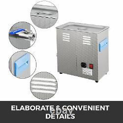 6L Digital Ultrasonic Cleaner with Heater 28/40KHz Stainless Steel Lab 0-99min
