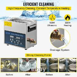 6L Dual Frequency Ultrasonic Cleaner Digital Stainless Basket Tank Machine CE UK