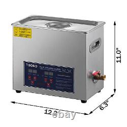 6L Stainless Ultrasonic Cleaner Ultra Sonic Bath Cleaning Timer Tank Heat