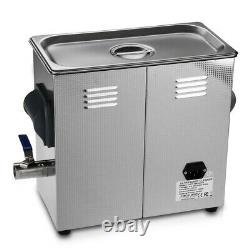6L Ultrasonic Cleaner Digital Display Timer Bath Heater Stainless Steel Tank Lab