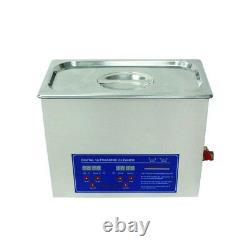 Dental 240W Digital Ultrasonic Cleaner Timer Heater Stainless Steel 10L Tank Wd