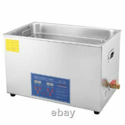 Digital 22L Stainless Ultrasonic Cleaner Delicate Items Cleaning Tank Basket CE