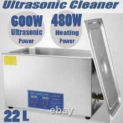 Digital 22L Stainless Ultrasonic Cleaner Delicate Items Cleaning Tank Timer Heat