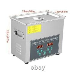Digital Double-Frequency Stainless Steel Ultrasonic Cleaner Timer Heater 3L 220V