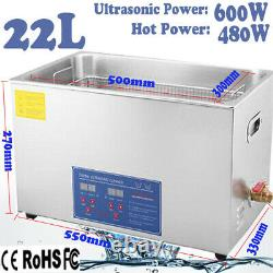 Digital Stainless 22l Ultrasonic Cleaner Bath Cleaning Tank Timer Heater +basket