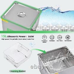 Digital Ultrasonic Cleaner 2L 3L 6L 10L 15L Timer Stainless Steel Cotainer +Plug