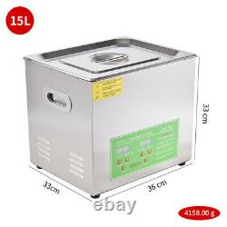 Digital Ultrasonic Cleaner 3/6/10/15L Timer Heater Stainless Steel Cleaning Tank
