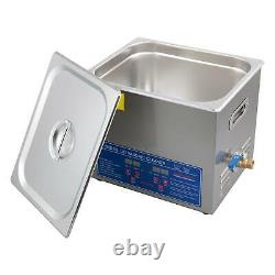 Digital Ultrasonic Cleaner Professional Timer Heater Stainless Steel 10L Basket