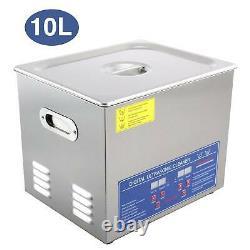 Digital Ultrasonic Cleaner Timer Heater Professional Stainless Steel 10L Basket