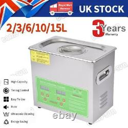 Digital Ultrasonic Cleaner Timer Stainless Steel Cotainer 2/3/6/10/15L UK