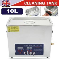 Digital Ultrasonic Cleaning Tank Ultra Sonic Bath Cleaner Timer Heated Metal 10L