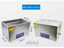LED Digital Stainless Steel Ultrasonic Denture Cleaner for Jewellery Rings 30L