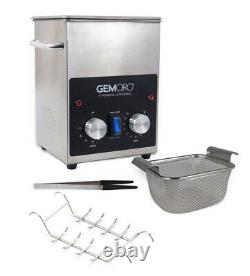 NEW GemOro 2QTH Next Gen Stainless Steel Ultrasonic Jewelry Cleaner with Basket