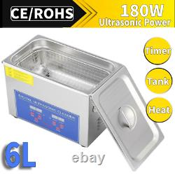Professional 6L Digital Ultrasonic Cleaner Stainless Steel Bath Heater Basket