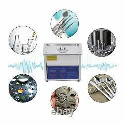 Professional Digital Ultrasonic Cleaner Stainless Steel Bath Heater Basket 3L