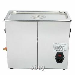 Stainless 10L Digital Ultrasonic Cleaning Tank Sonic Bath Cleaner Timer Heated