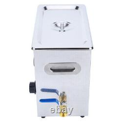 Stainless Steel Ultrasonic Cleaner Heated Cleaning Tank Machine with Basket (6L)