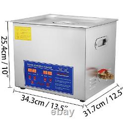 Ultrasonic Cleaner 15L Stainless Steel Cleaning Heater with Timer Basket Jewelry