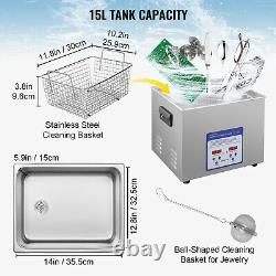 VEVOR 15L Stainless Steel Ultrasonic Cleaner Cleaning Machine Digital Control