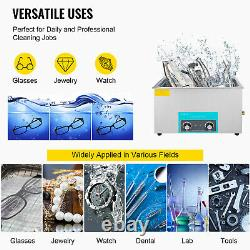 VEVOR 30L Knob Ultrasonic Cleaner Stainless Container Jewellery Bath Timer Heat