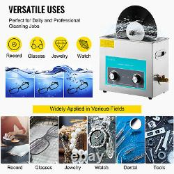 VEVOR 6L Knob Ultrasonic Washer Jewelry Cleaner Stainless Steel with Heater&Timer